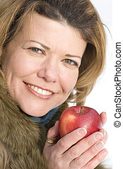 portrait woman with red apple
