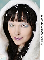 portrait woman with snow in hair