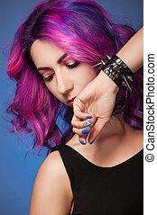 Portrait woman with violet hair.
