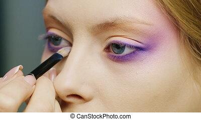 portrait, yeux, femme, marques, maquillage