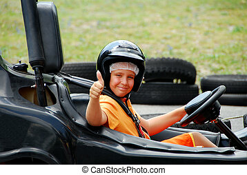 Young Boy in Go Cart