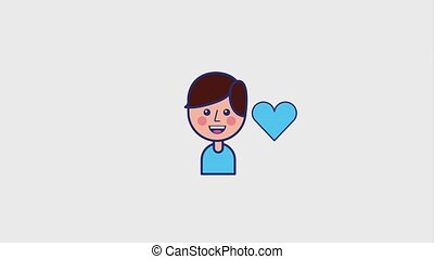 portrait young boy smiling and love it hearts