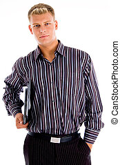 portrait young businessman with official files with white...