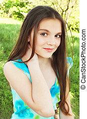 girl in the turquoise sarafan