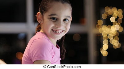 Portrait Young Girl Staying Awake Late At Night Smiling -...