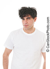 Portrait young man in white shirt