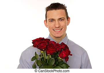 Portrait young man with roses