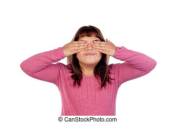 Portrait young teenager girl closing covering eyes with hands