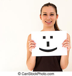 portrait young woman with board Smile face sign