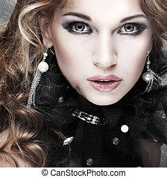 portrait.accessorys.red, dziewczyna, fason, hairs.
