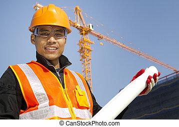 portraite, sitio, director, con, seguridad, chaleco, bajo construcción