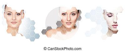 portraits., エステ, women., コラージュ, concept., 持ち上がること, 若い, プラスチック, 健康, 女性, 顔, 手術, 顔