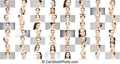 portraits., コラージュ, concept., 持ち上がること, skincare, 顔, 様々, 女性, メーキャップ, エステ, 手術, プラスチック