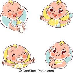 portraits bébé, différent, collection, situations