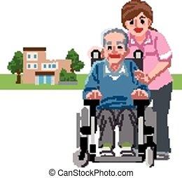 portraits, fauteuil roulant, personne agee, caregiver, homme souriant