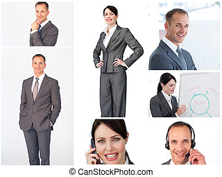 portraits, gens, collage, business
