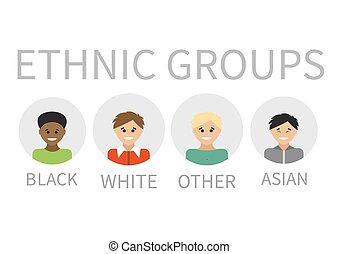 portraits., illustration., gente, vector, multi-ethnic, grupo étnico