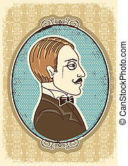 portraits., ilustración, cara, vector, vendimia, caballero