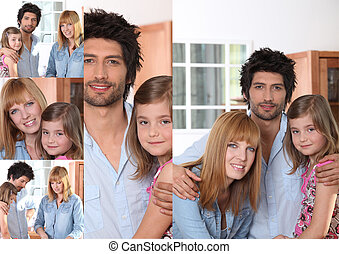 Portraits of a man, a woman and a little girl