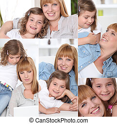 Portraits of a mom and a little girl at home