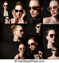 Portraits of beautiful young woman with sunglasses on black background. Collage.
