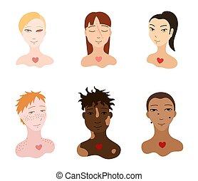 Portraits of body positive people set. Flat style isolated ...