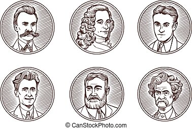 Portraits of famous literature authors in engraving styles. ...
