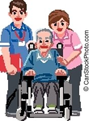 Portraits of happy elderly man in wheelchair and his nurses...