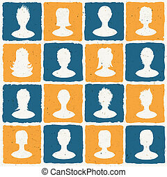 Portraits of many people. Social network concept illustration. Vector, EPS10