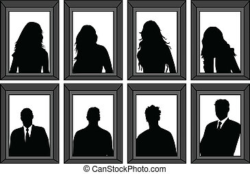 portraits of people - vector silhouettes framed