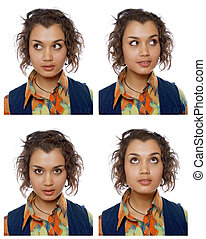 portraits of the same woman in different emotions