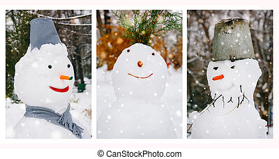 Portraits of three snowman in the park