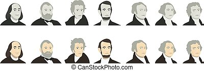 Portraits of US Presidents and famous politicians. Stylized...