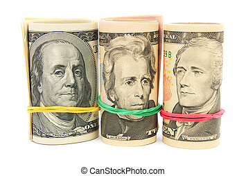 Portraits on dollars. On a white background.