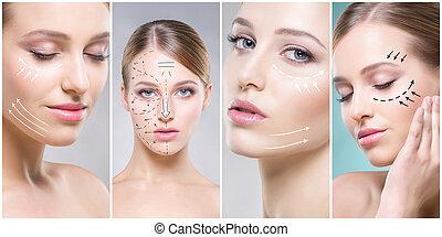 portraits., terme, women., collage, concept., sollevamento, giovane, plastica, sano, femmina, facce, chirurgia, faccia