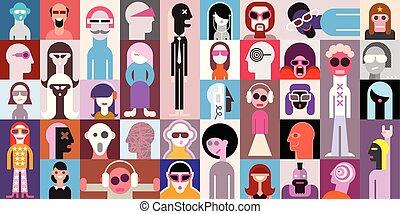 portraits, vecteur, illustration, gens