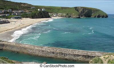 Portreath beach and sea time lapse. - Portreath beach and...