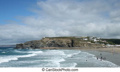 Portreath Cornwall timelpase. - Waves and clouds time lapse...