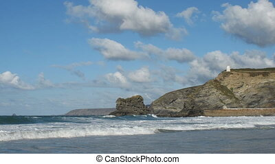 Portreath waves clouds timelapse.