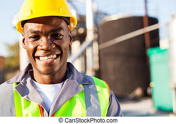 portret, amerykanka, petrochemiczny, pracownik, afrykanin