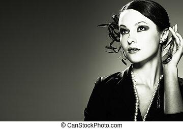 Portret beautiful girl in retro style