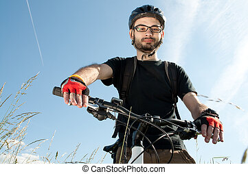 portret, biker, młody