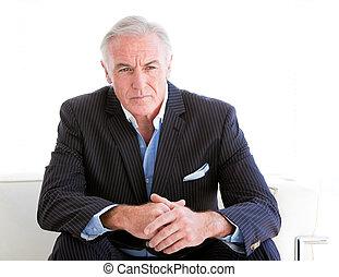 portret, biznesmen, senior, poważny