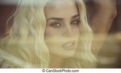 portret, blondynka, closeup, czuciowy