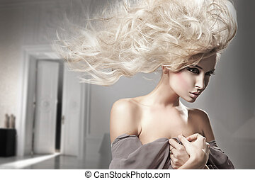portret, blondynka, piękno