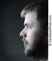 portret, broda, młody mężczyzna
