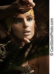 portret, brunetka, dama, młody, piękno