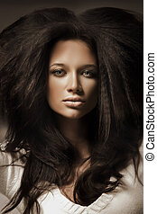 portret, brunetka, piękno