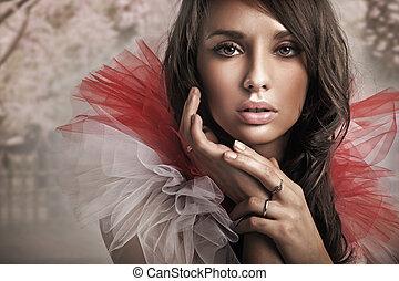 portret, brunetka, sprytny