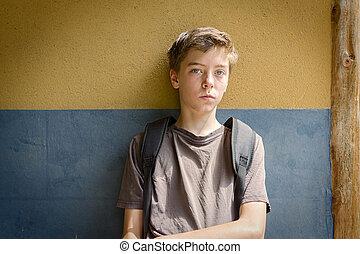 portret, chłopiec, teenage, smutny, posiedzenie